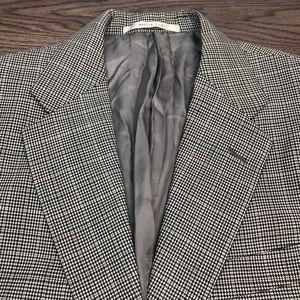 Hickey Freeman Grey & Black Plaid Blazer 40R